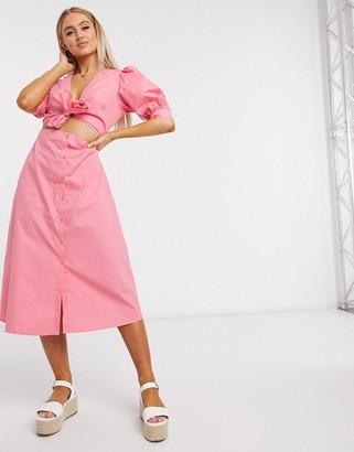 NA-KD front twist midi dress in pink