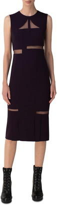 Akris Tulle Cutout Double Face Wool Blend Midi Sheath Dress