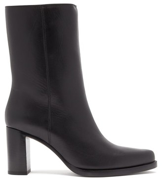 LEGRES Block-heel Leather Boots - Black