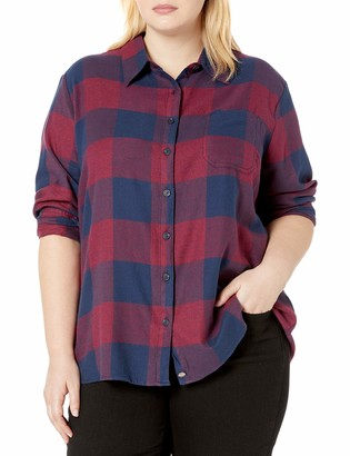 Dickies Women's Size Long-Sleeve Plaid Flannel Shirt Plus
