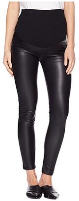 Plush Maternity Fleece-Lined Liquid Over-Belly Leggings (Black) Women's Casual Pants