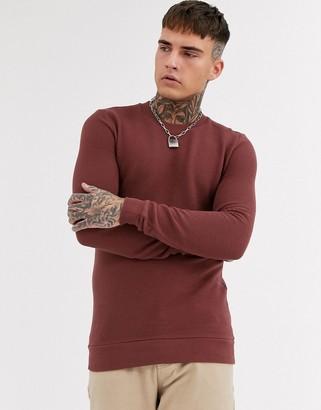ASOS DESIGN ribbed sweatshirt in brown