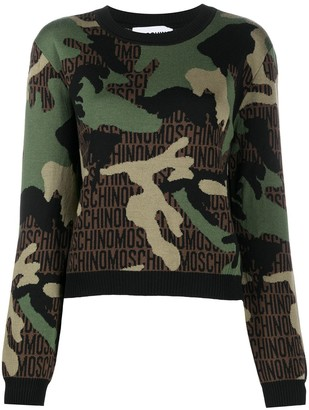 Moschino Camouflage Knitted Jumper