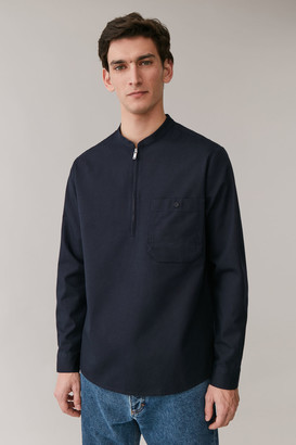 Cos Grandad Collar Organic Cotton Shirt