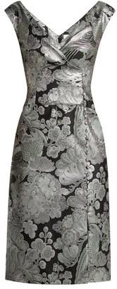 Erdem Jyoti Floral Jacquard Midi Dress - Black Print