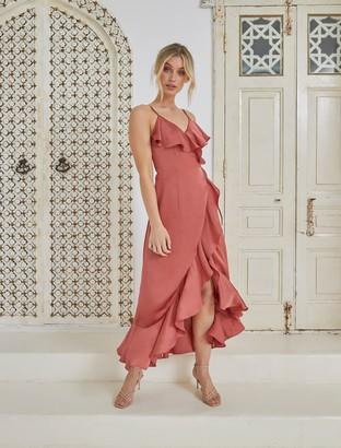 Forever New Ivana Wrap Frill Midi Dress - Rose Rust - 10