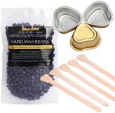 Bluezoo Brazilian Hard Wax Beads with Sticks and Small Bowls Depilatory Solid Hot Film Waxing Pellets for Body Bikini Hair Removal 100g