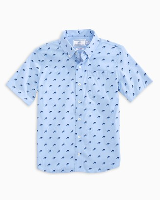 Southern Tide Boys Dolphin Print Intercoastal Short Sleeve Button Down Shirt