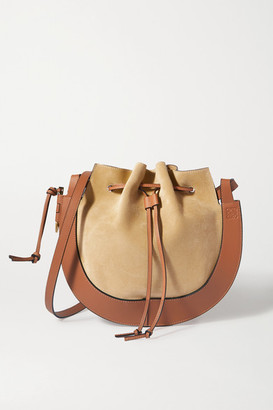 Loewe Horseshoe Two-tone Suede And Leather Shoulder Bag - Tan
