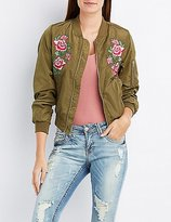 Charlotte Russe Rose Embroidered Bomber Jacket