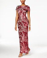 Betsy & Adam Sequined Lace Column Gown