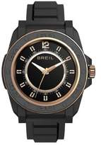 Breil Milano Unisex Quartz Watch with Beige Dial Analogue Display and Black PU Bracelet TW0833