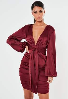 Missguided Burgundy Satin Balloon Sleeve Plunge Mini Dress