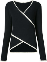 Derek Lam 10 Crosby contrast piped wrap top - women - Cotton/Cashmere - S