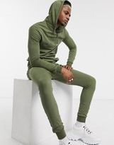 Asos Design DESIGN muscle tracksuit with hoodie in khaki