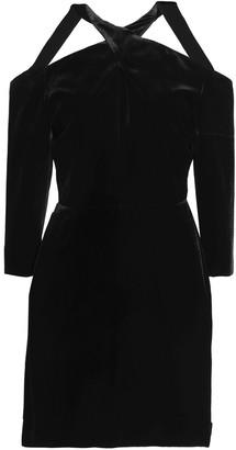 Roland Mouret Cold-shoulder Velvet Mini Dress