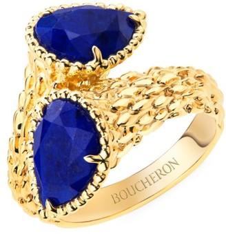 Boucheron Serpent Boheme 18K Yellow Gold & Lapis Lazuli Two-Stone Ring
