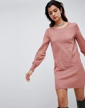 Vila boat neck knit mini jumper dress in pink