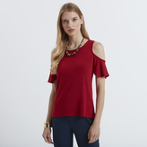 Apricot Plain Cold Shoulder Marl T-shirt