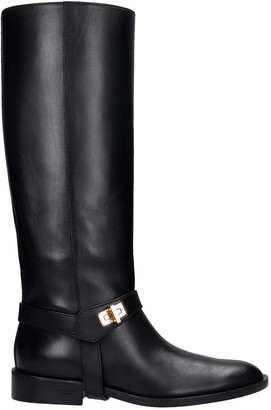 Givenchy Eden High Low Heels Boots In Black Leather
