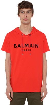 Balmain HOODED FLOCK COTTON JERSEY SS T-SHIRT