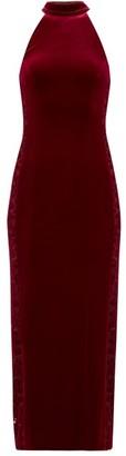 Galvan Rosa Tulle-insert Velvet Dress - Burgundy
