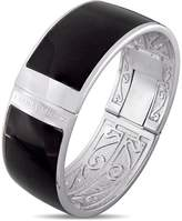 Laura Ashley Rhodium Plated Black Enamel Bangle