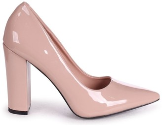 Linzi TIFFANY - Nude Patent Block High Heel Heel Court Shoe
