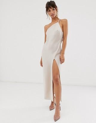 Asos Design DESIGN one shoulder midaxi dress in satin with drape back-Cream