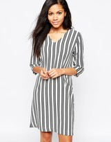 B.young Structured Striped Dress With V Neck