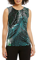 Calvin Klein Palm Leaf Print Pleat Neck Matte Jersey Shell