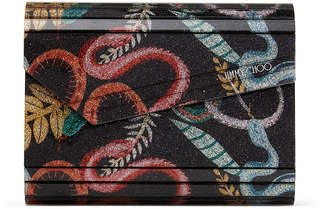 Jimmy Choo CANDY Multicolour Serpent Print Fine Glitter Acrylic Clutch Bag