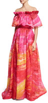 Naeem Khan Off-the-Shoulder Brushstroke-Print Silk Gown, Fuchsia/Yellow