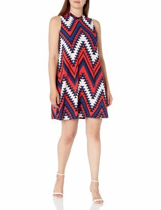 Tiana B T I A N A B. Women's Puff Print Mockneck Sleeveless Dress Navy/red 6