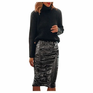 Younthone Women's High Waist Midi Skirt Casual Sequined Fringe Skirt Bag Hip Skirt Cocktail Prom Evening Party Carnival Party Elegant Lady Knee-Length Dress(Black L)