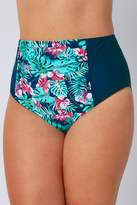 Yours Clothing Green & Blue Tropical Orchard Print High Waisted Bikini Brief