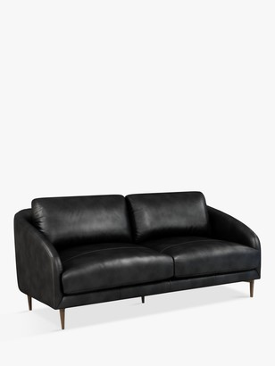 John Lewis & Partners Cape Large 3 Seater Leather Sofa, Dark Leg