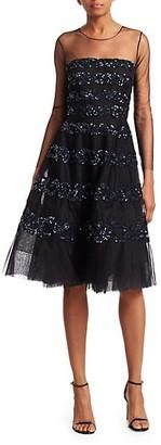Ahluwalia Lara Embellished Illusion Dress