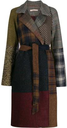 Ermanno Gallamini Abric patchwork belted coat
