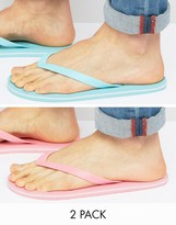 Asos Flip Flops 2 Pack In Pink And Mint SAVE