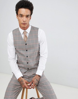 Gianni Feraud Slim Fit Heritage Check Wool Blend Waistcoat-Brown