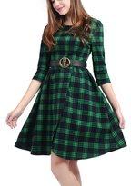 Wellwits Women's Wrap 3/4 Sleeves Vintage Plaid Dress with Belt XL
