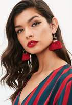 Missguided Burgundy Hoop Tassel Earrings