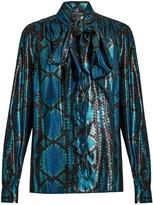 Marc Jacobs Python silk-blend lamé blouse