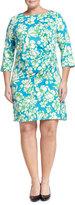 Julie Brown Morgan Floral-Print Draped Dress, Blue Blossom, Women's