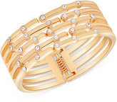 GUESS Gold-Tone Crystal Hinged Bangle Bracelet