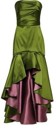 Marchesa Strapless Ruched Duchesse-satin Gown