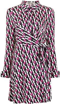 Diane von Furstenberg Logo Print Wrap Dress