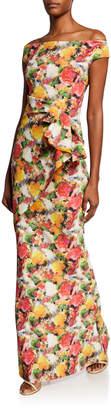 Chiara Boni Printed Off-Shoulder Short-Sleeve Gown w/ Asymmetric Ruffle Detail