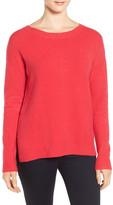 Caslon Back Zip High/Low Sweater (Petite)